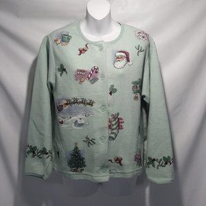 Vintage Cozy Christmas Fleece Cardigan Med USA